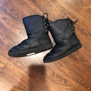 Black leather UGG boots w/laces in back